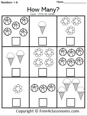 Free Summer Math Counting Worksheet - 1 to 10
