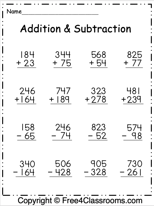 Free Addition and Subtraction Math Worksheet 1