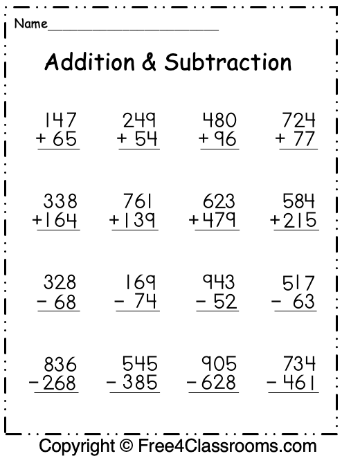 Free Addition And Subtraction Worksheets - 3 Digit - With Regrouping -  Free4Classrooms