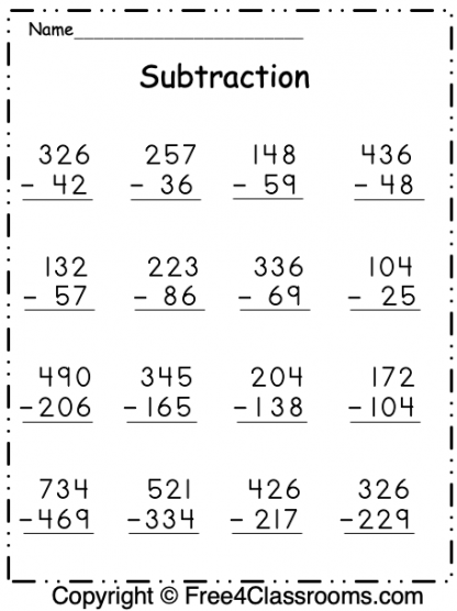 Free Subtraction Math Worksheet