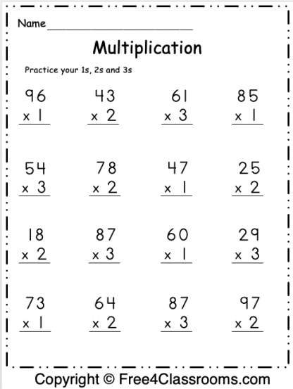 Free Multiplication Math Worksheet 1