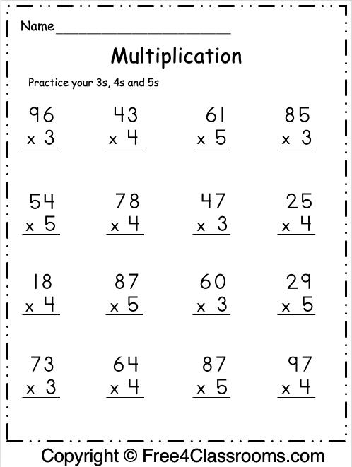 Free Multiplication Math Worksheet 2