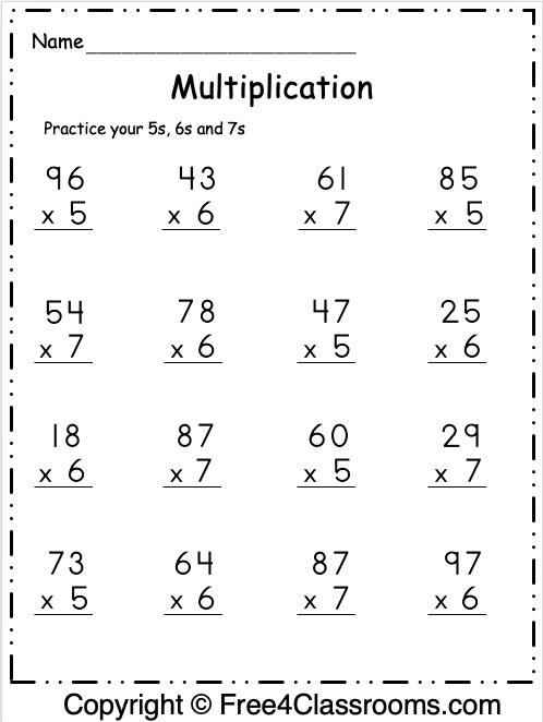 Free Multiplication Math Worksheet 3