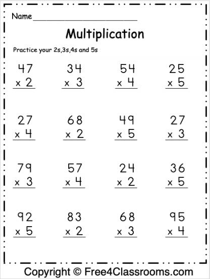 Free Multiplication Math Worksheet