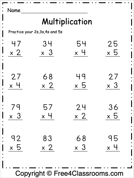 Free Multiplication Math Worksheet