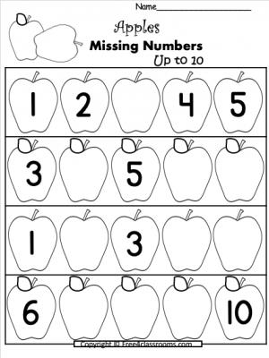 Free Number Writing Worksheet - Apple Numbers to 10