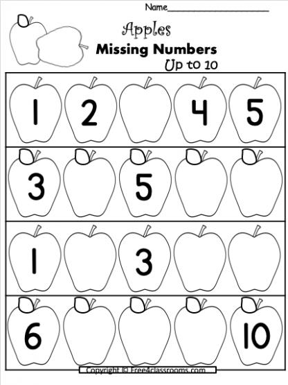 Free Apples Numbers Worksheets