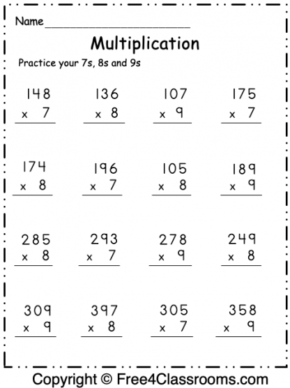Free Multiplication Worksheet 1 2