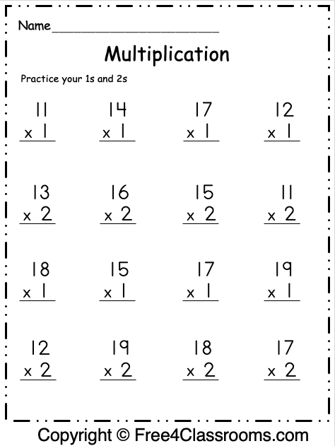 Free Multiplication Worksheet 1 3