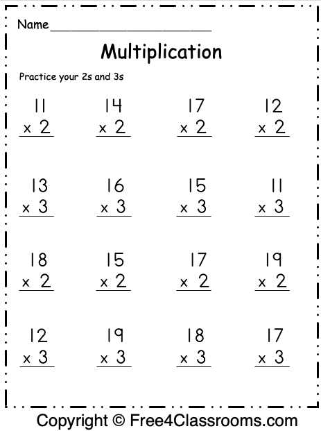 Free Multiplication Worksheet 1 4