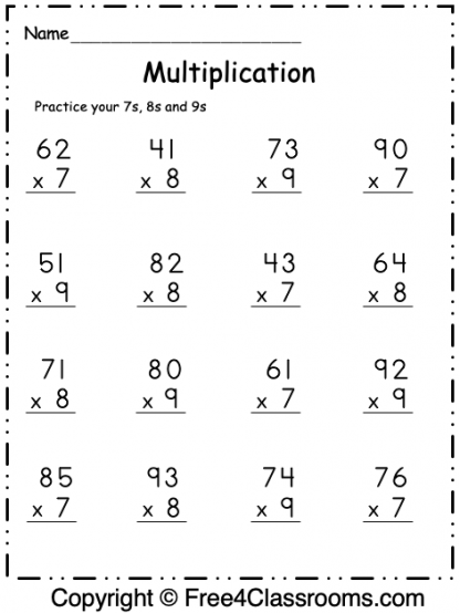 Free Multiplication Worksheet 1