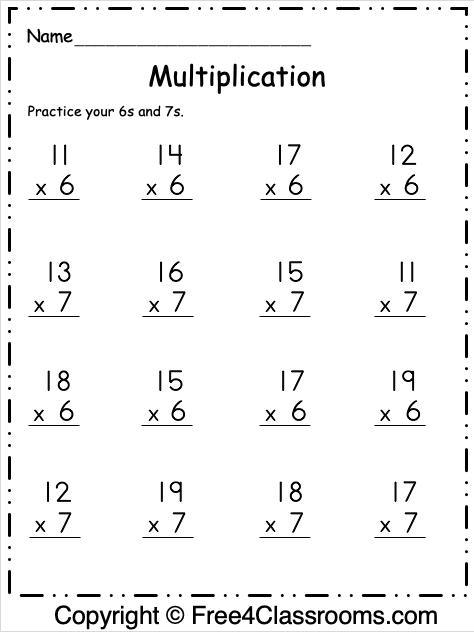 Free Multiplication Worksheet 10