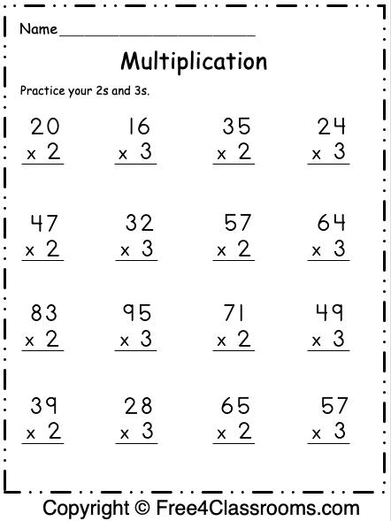 Free Multiplication Worksheet 15