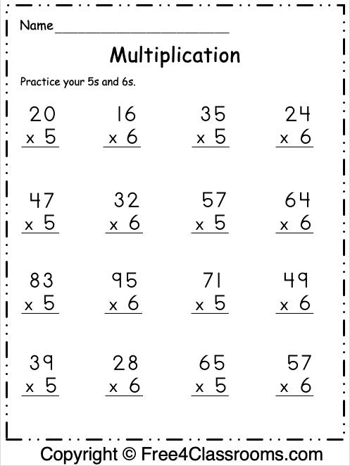 Free Multiplication Worksheet 18