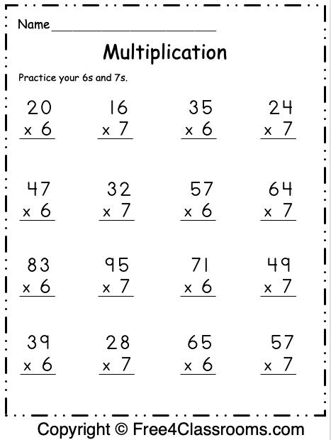 Free Multiplication Worksheet 19