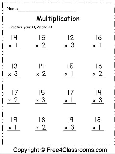 Free Multiplication Worksheet 5