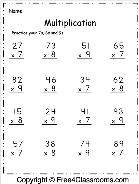 Free Multiplication Worksheet