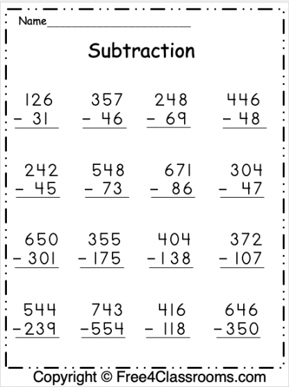 Free Subtraction Worksheet 3 Digit With Regrouping