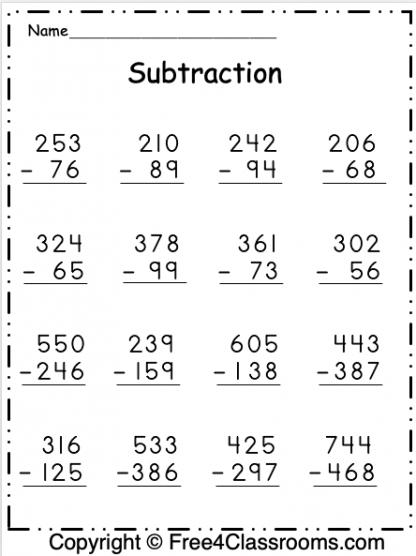Free Subtraction Worksheet