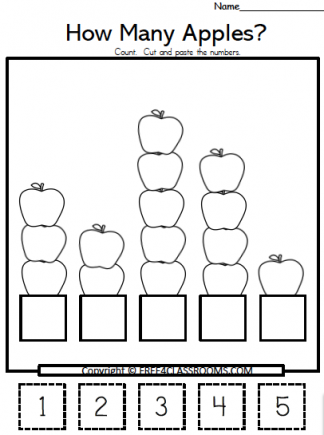 free apple number conting worksheets free4classrooms.com