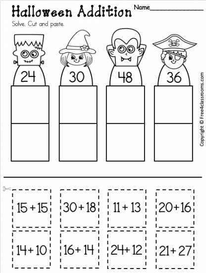 Free 1st Grade Addition Worksheet for Halloween