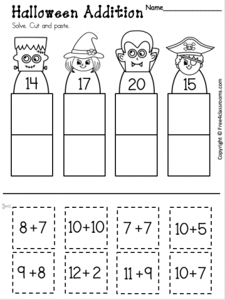 Free Addition Worksheet for Halloween