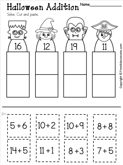 Free Addition Worksheet up to 20 for Halloween