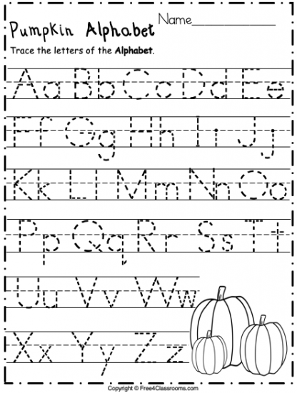 Free Alphabet Trace Letters Pre k and Kinder Worksheet