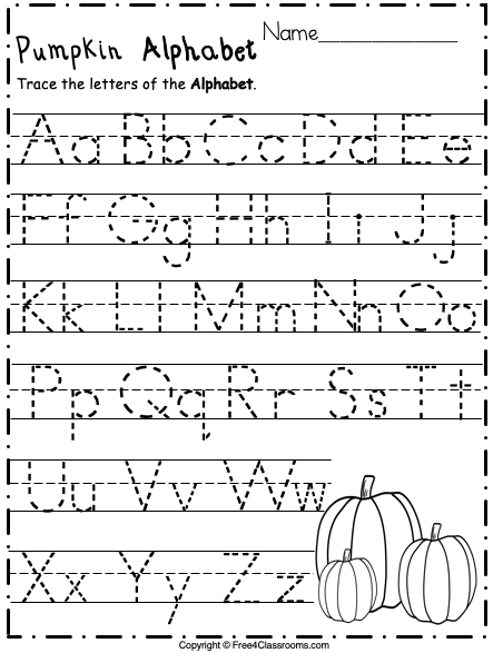 Free Alphabet Trace Letters For Pre-k And Kinder - Free4Classrooms