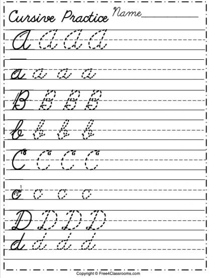 Free Cursive Alphabet Worksheet Letters A to D