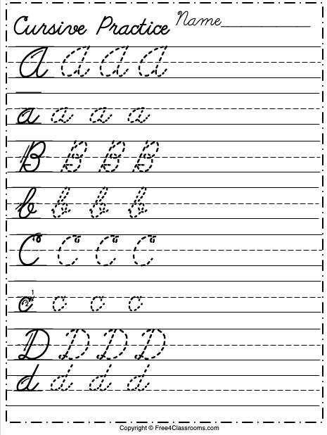 Free Cursive Alphabet Worksheet Letters A to D