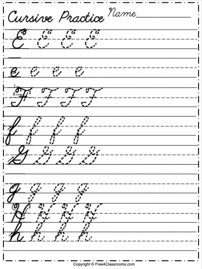 Free Cursive Alphabet Worksheet Letters E to H