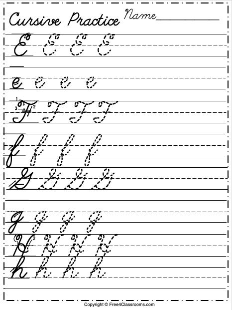 Free Cursive Alphabet Worksheet Letters E to H