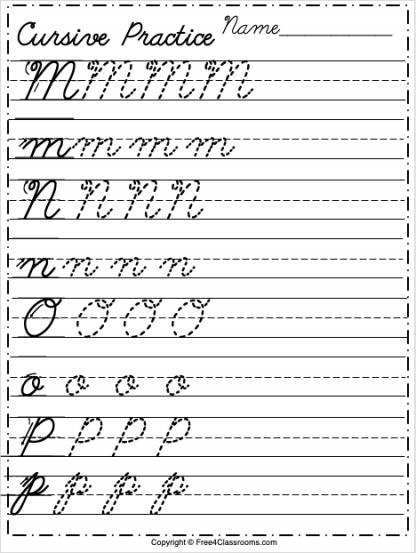 Free Cursive Alphabet Worksheet Letters M to P