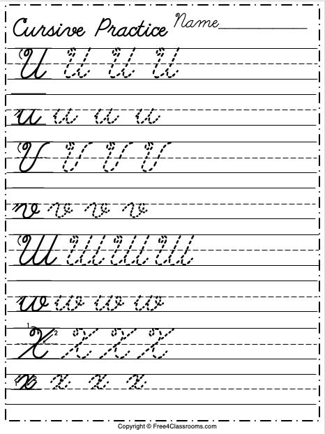 Free Cursive Alphabet Worksheet Letters U to X