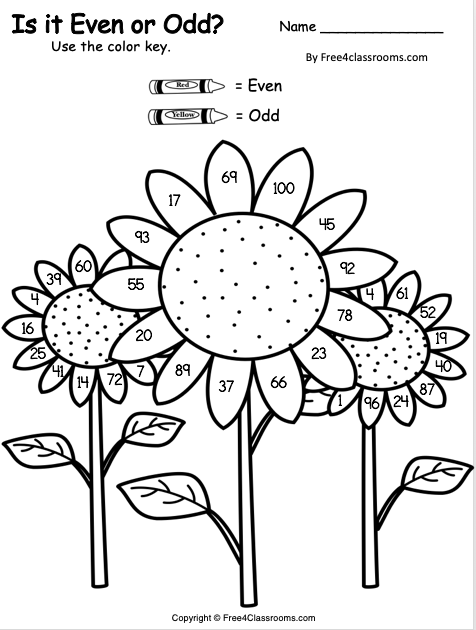 Free Even and Odd Color Key Worksheet 1