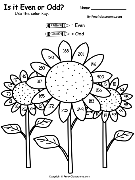 Free Even and Odd Color Key Worksheet 2