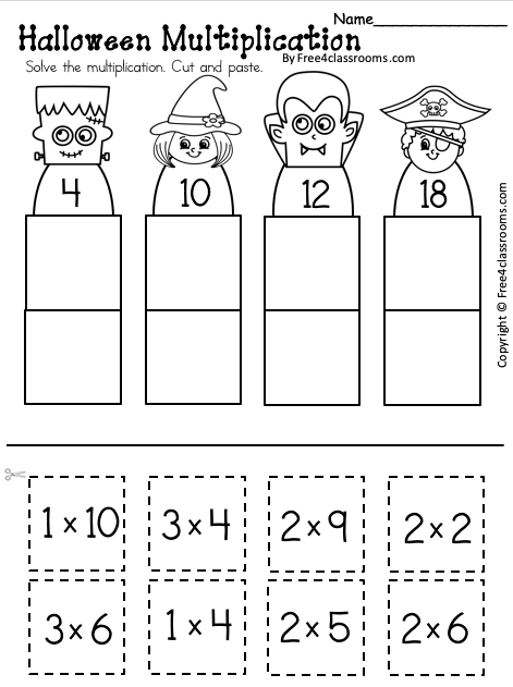 Free Halloween Multiplication Worksheet Up to 3s