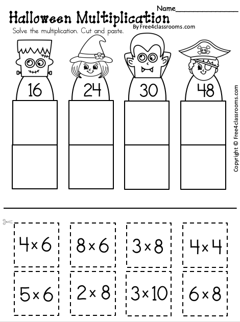 Free Halloween Multiplication Worksheet Up to 8s