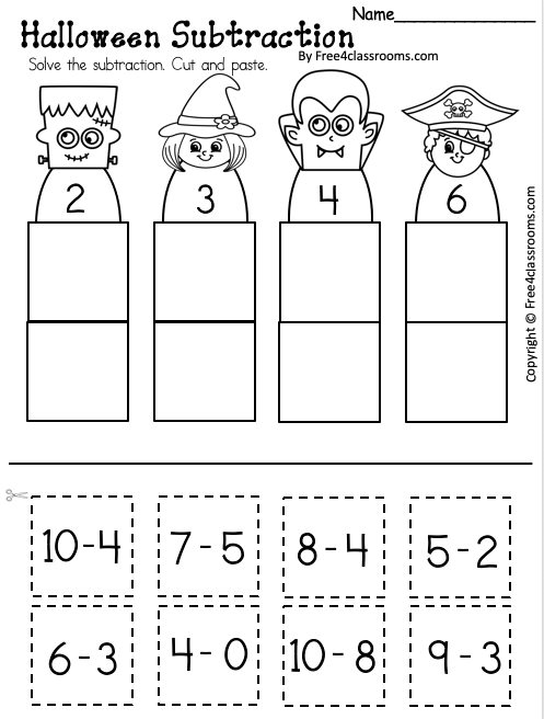 Free Halloween Subtraction Worksheet Up to 10
