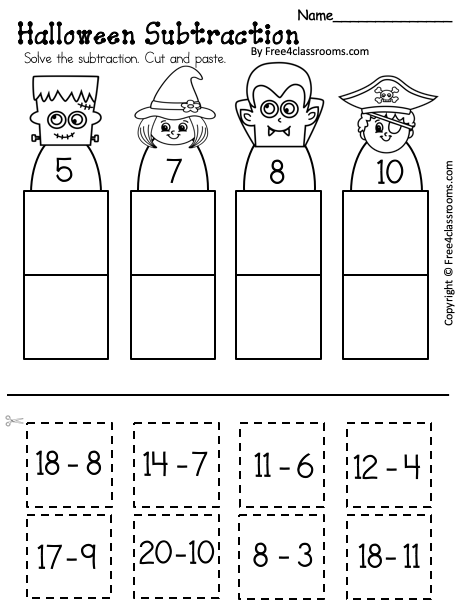 Free Halloween Subtraction Worksheet Up to 20
