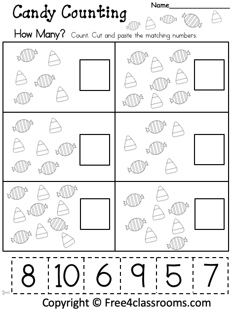 Free Kindergarten Math Worksheet - How Many - Cut And Paste -  Free4Classrooms