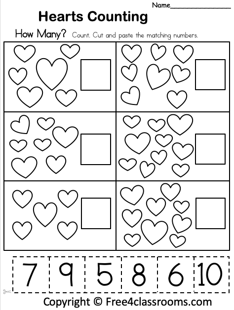 Free Counting Hearts Math Worksheet Up To 10 - Free4Classrooms