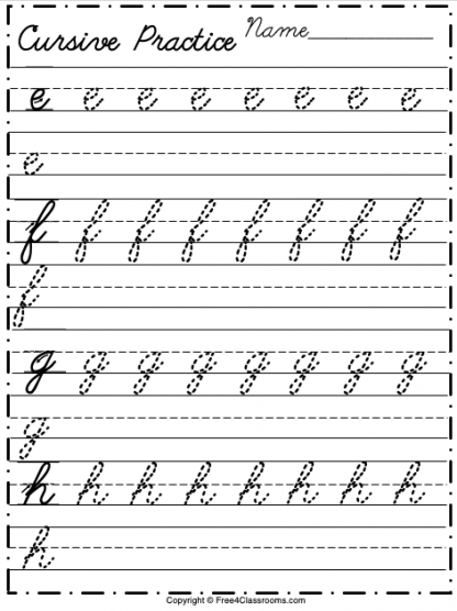 Free Lowercase Cursive Worksheet Letters e to h