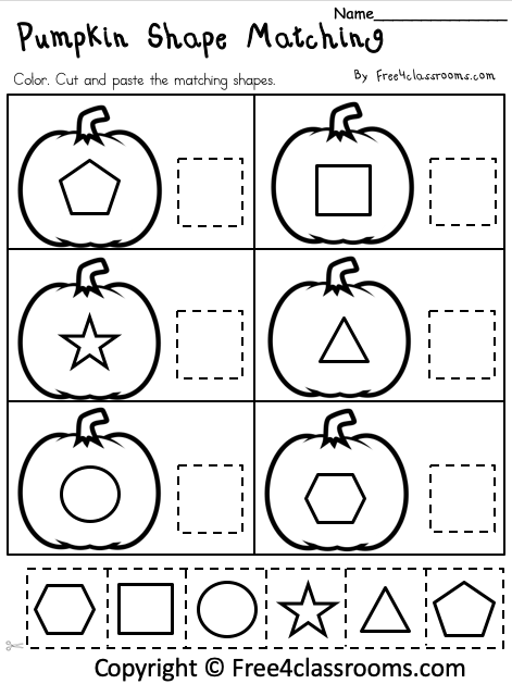 Free Pumpkin Shape Matching Worksheet 1