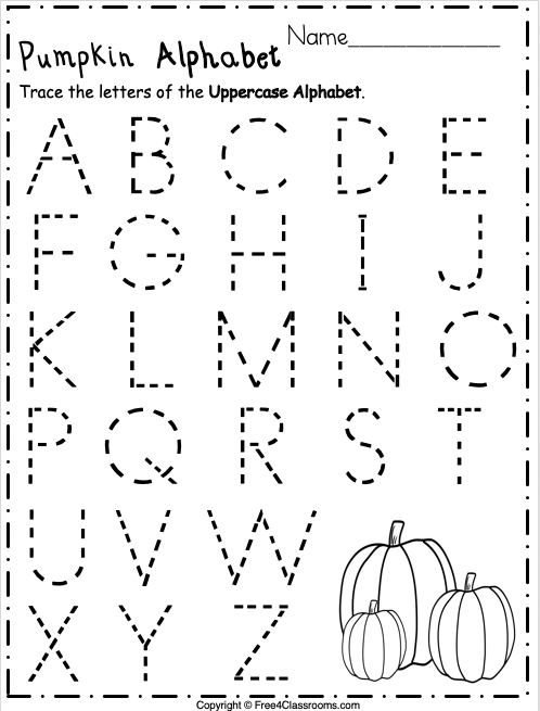 Free Pumpkin Uppercase Alphabet Trace Worksheet
