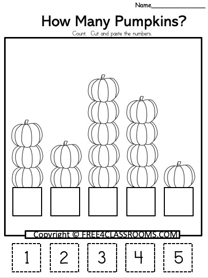 Free Kindergarten Math Worksheet - Pumpkins - Free4Classrooms