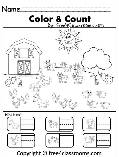 KInder Color Count on a Farm