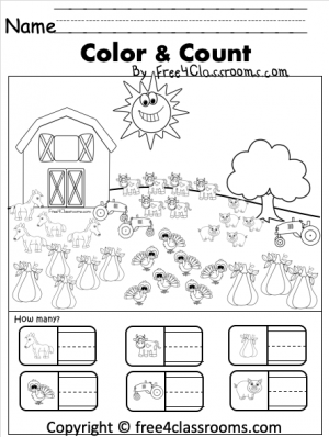 Free Kindergarten Numbers Worksheet on a Turkey Farm