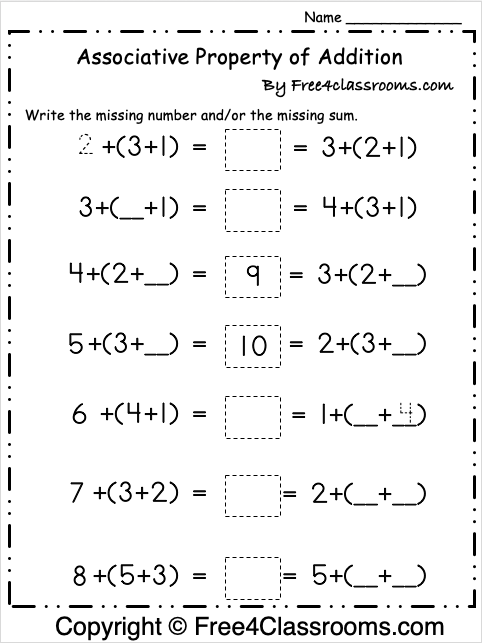 Free Associative Property of Addition Worksheet